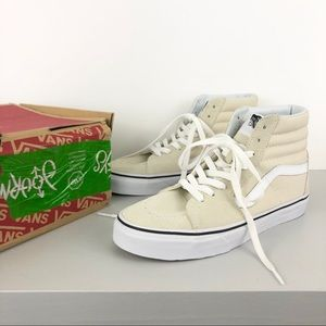 VANS SCHUHE SK8 HI Overwashed White Weiss Creme Canvas Used